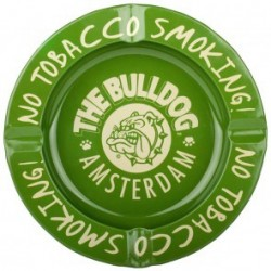 BULLDOG GREEN METAL ASHTRAY