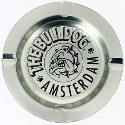 BULLDOG SILVER BRUSHED METAL ASHTRAY