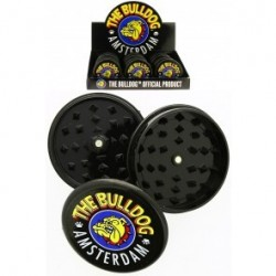 THE BULLDOG AMSTERDAM PLASTIC GRINDER SOLID BLACK 3 PARTS