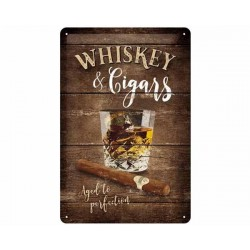 TIN SIGN WHISKEY & CIGARS NA22257 20x30CM
