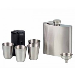 FLACON 725687 CHROME SATIN + 2 CUPS & FUNNEL - 6OZ