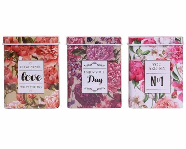 ETUI 08096 TIN BOX METAL LOVELY FLOWERS