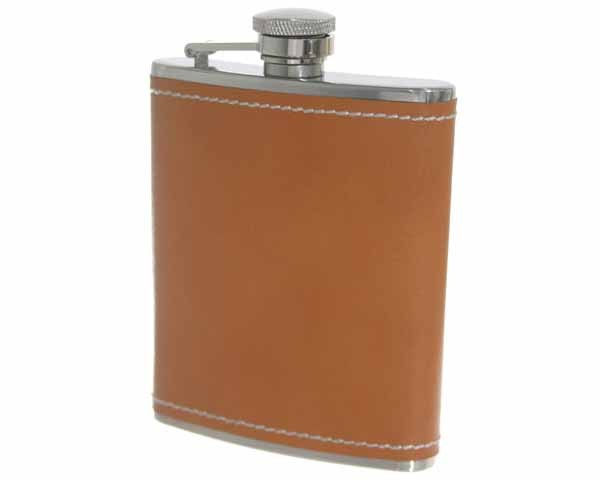 FLACON PETERSON 133 BROWN LEATHER 6 OZ