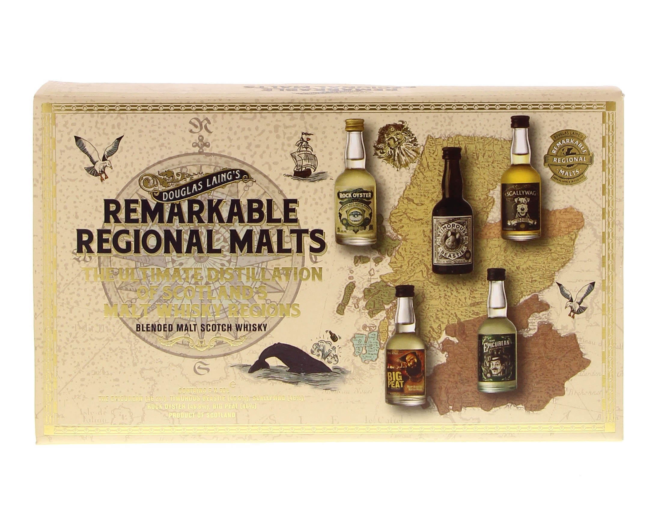 Remarkable Regional Malts 5 x 5 cl (Scallywag, Rock Oyster, Big Peat, Timorous Beastie & Epicurean) 46.4° 0.25L