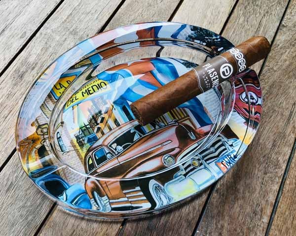 CENDRIER CIGARE 523581 GLASS OVAL CUBA CAR